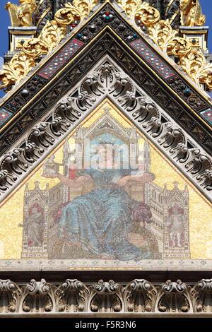 Mosaic on Prince Albert Memorial in Kensington Gardens. London, UK - Stock Photo