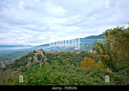 View from Tenaglie, small village near Montecchio (in the background), Terni, Umbria, Italy - Stock Photo