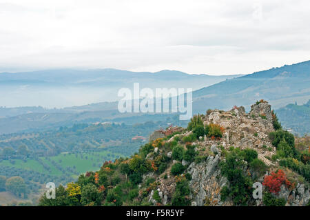 View from Tenaglie, small village near Montecchio, Terni, Umbria, Italy - Stock Photo
