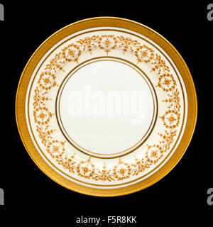 Vintage 'Gold Dowery' dinner plate by Aynsley Pottery, Longton, England - Stock Photo