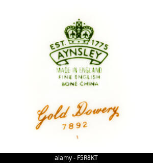 Backstamp of vintage 'Gold Dowery' dinner plate by Aynsley Pottery, Longton, England - Stock Photo