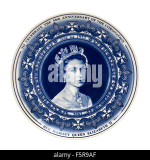 Wedgwood commemorative plate (2003) to celebrate the 50th Anniversary of the Coronation of Her Majesty Queen Elizabeth - Stock Photo