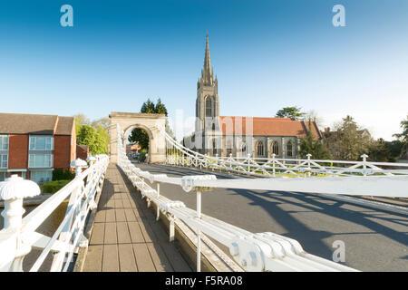 Marlow Suspension Bridge and All Saints Church, Marlow, Buckinghamshire, England, UK - Stock Photo
