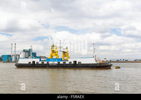 The Woolwich Car Ferry John Burnes on the River Thames, London, England UK - Stock Photo