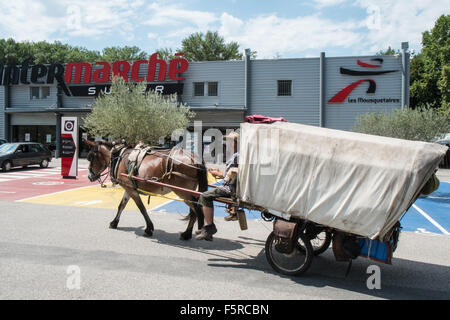 Eco couple,travellers,with,a,horse,and, wagon,cart,gypsy,carriage,alternative lifestyle Intermarche supermarket,Esperaza,Aude,South - Stock Photo