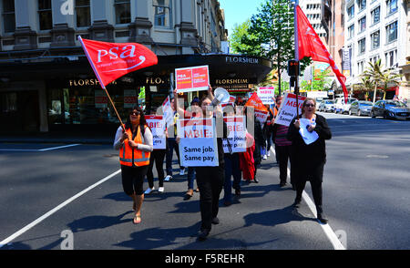 AUCKLAND - NOV 05 2015:Workers protesting for Equal pay for equal work. New Zealand has several employment and human - Stock Photo