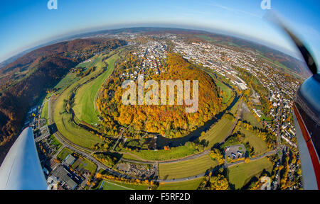 Arnsberg old town mountain, Ruhr, Ruhr bow, bend of the river, forest Eichholzstrasse, autumn, Sauerland - Stock Photo
