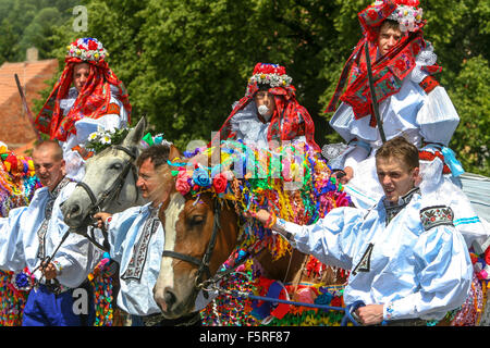The Ride of the Kings. Traditional folklore festival, Vlcnov, UNESCO, South Moravia, Czech Republic - Stock Photo