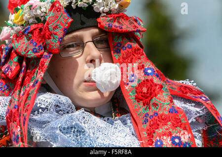 Vlcnov, The Ride of the Kings. Traditional folklore festival, Vlcnov, Czech Republic - Stock Photo