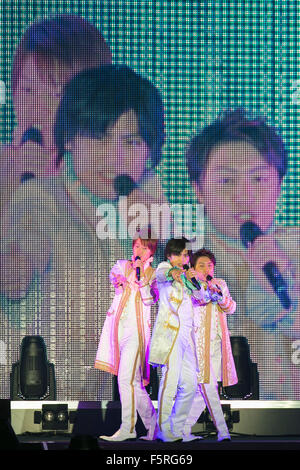 Members of the traditional Japanese song ''enka'' trio Hayabusa perform during the ''Moshi Moshi Nippon Festival - Stock Photo