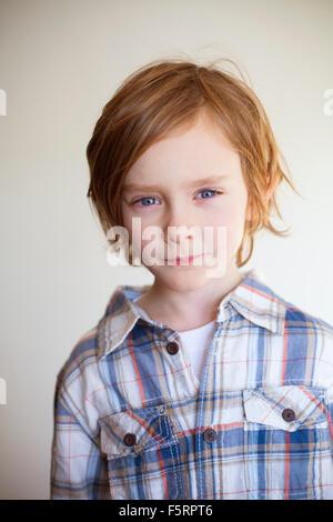 Sweden, Vastergotland, Lerum, Portrait of boy (7-8) - Stock Photo