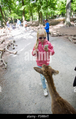 Germany, Lower Saxony, Gifhorn, Girl (10-11) taking picture of young deer in wildlife reserve - Stock Photo