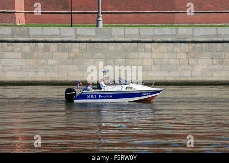 A police boat (MVD) patrolling Moskva River during the 2009 Victory Day Parade in Moscow, Russia - Stock Photo