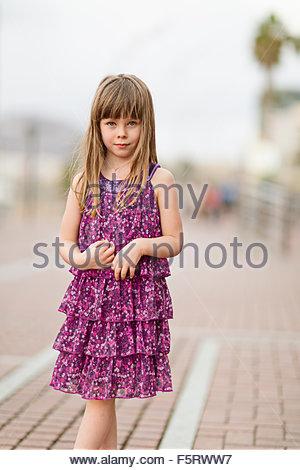 Spain, Las Palmas, Portrait of little girl (4-5) - Stock Photo