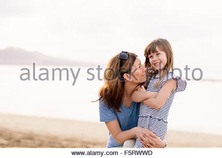 Spain, Las Palmas, Mother and daughter (4-5) - Stock Photo