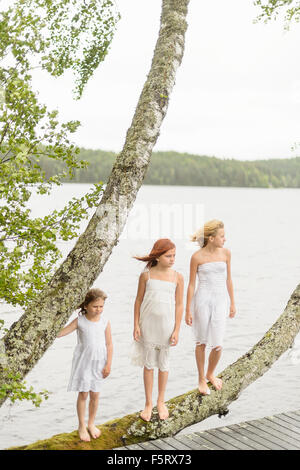 Sweden, Vastmanland, Bergslagen, Hallefors, Sangshyttan, Three girls (4-5, 8-9, 10-11) standing on tree by lake - Stock Photo