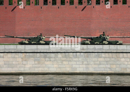 Two BMD-4s amphibious infantry fighting vehicles during the 2009 Moscow Victory Day Parade in Moscow, Russia - Stock Photo