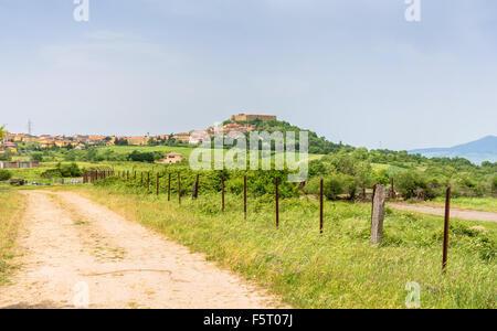 Panoramic view of Lagopesole. Basilicata, Italy - Stock Photo