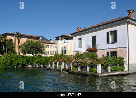 houses on the shore of Lake Iseo in Iseo town - Lombardy - Italy - Stock Photo