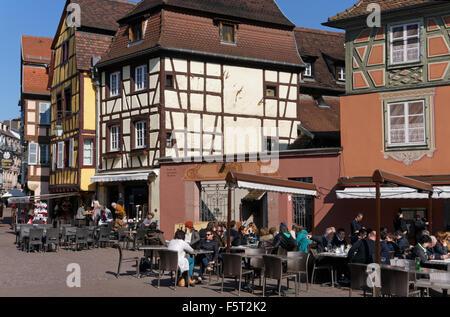Place de l'Ancienne Douane - square, historic centre, Colmar, Alsace, France - Stock Photo