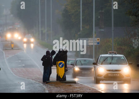 Aberystwyth Wales UK Monday  09 November 2015   Heavy rain and strong winds make conditions difficult for motorists - Stock Photo