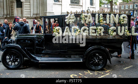 Queen guitarist, Brian May joins fellow activists to hold a symbolic funeral procession from the Defra offices to - Stock Photo