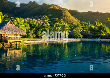 Villas in a tropical resort and with palm trees reflected in the ocean during sunset - Stock Photo