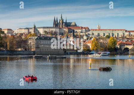 View to Prague Castle and the Charles Bridge at afternoon, Prague, Czech Republic - Stock Photo