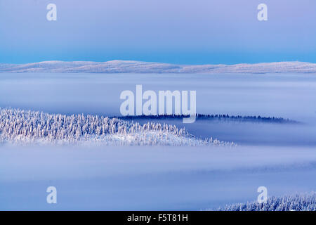 Finland, Lapland, Levi, Sirkka, Ski resort at dusk - Stock Photo