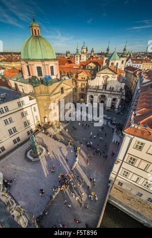 Krizovnicke namesti square old town Prague city, Czech Republic, Europe - Stock Photo