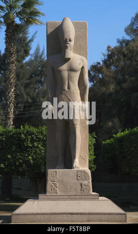 Egyptian Art. Statue of Pharaoh Ramses II (h.1290-1224 BC). New Empire. 19th Dynasty. Mit Rahina Open Air Museum. - Stock Photo