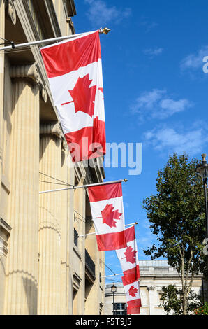 The Canadian Flag hands outside the Canadian Embassy, Trafalgar Square, London, England, UK