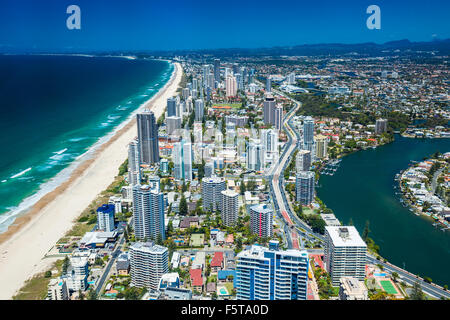 GOLD COAST, AUS - OCT 04 2015: Aerial view of the Gold Coast in Queensland Australia looking from Surfers Paradise - Stock Photo
