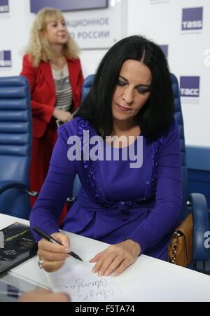 MOSCOW, RUSSIA. NOVEMBER 9, 2015. Romanian soprano Angela Gheorghiu attends a press conference on the Elena Obraztsova - Stock Photo