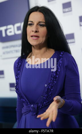 MOSCOW, RUSSIA. NOVEMBER 9, 2015. Romanian soprano Angela Gheorghiu attends a press conference on the Elena Obraztsova - Stock Photo