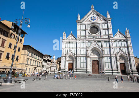 The square, with the Basilica of Santa Croce. - Stock Photo