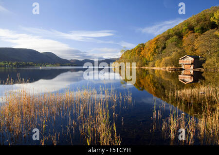 Boathouse on Ullswater near Pooley Bridge Lake District national park Cumbria UK - Stock Photo