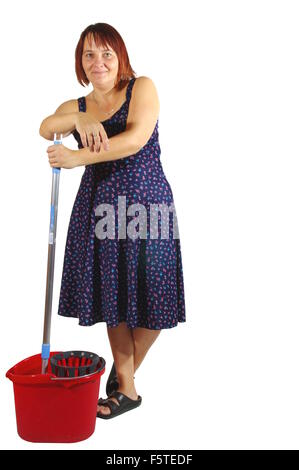 Housekeeper cleans the floor. Woman washes the floor with mop. On a white background,  isolated. - Stock Photo