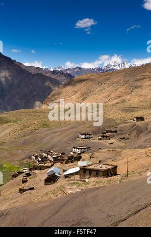 India, Himachal Pradesh, Spiti, Hikkim, high altitude village amongst snow clad mountains - Stock Photo