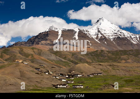 India, Himachal Pradesh, Spiti Valley, Langza village at 4400m altitude below snow clad mountains, - Stock Photo