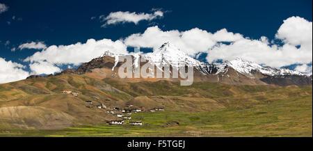 India, Himachal Pradesh, Spiti Valley, Langza village at 4400m altitude below snow clad mountains, panoramic - Stock Photo