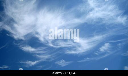Blue sky with cloud cover - Stock Photo