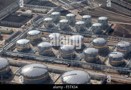 Top view of tanks on factory - Stock Photo