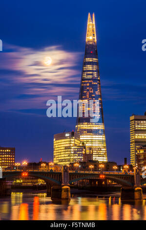 The Shard and skyline at night sunset City of London South Bank  southwark London England UK GB EU Europe - Stock Photo