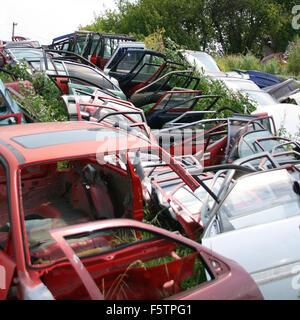 Big heap of car doors - Stock Photo