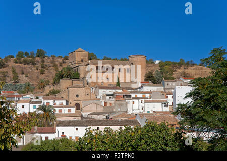 Castle and town, Canena, Jaen province, Region of Andalusia, Spain, Europe - Stock Photo