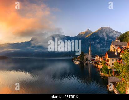 Sunrise in Hallstatt, in upper Austria is a village in the Salzkammergut, a region in Austria. - Stock Photo