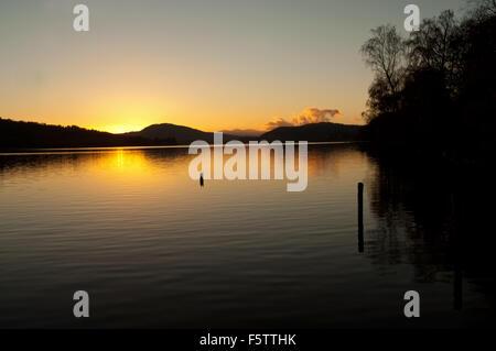 Sunset down Loch Rannoch - Stock Photo