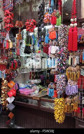 Haberdashery in the medina of Fes, Morocco - Stock Photo