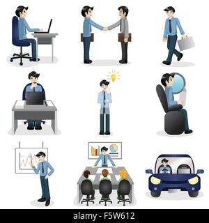 A vector illustration of Small business people icons in different situation - Stock Photo